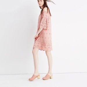 Madewell Pink Eyelet Off the Shoulder Dress